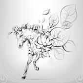 Ló sziluettek virágok