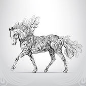 Horse in abstract ornament