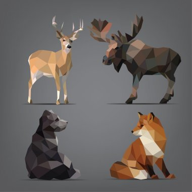 Wild animals in  geometric style