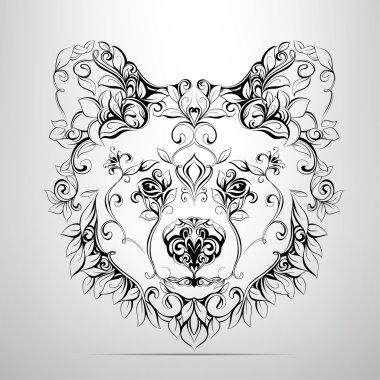 Head of bear in  ornament