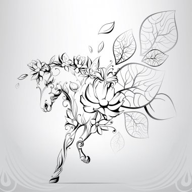 Horse silhouettes of flowers