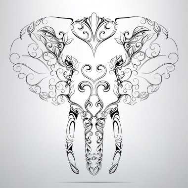 Head of elephant in  ornament