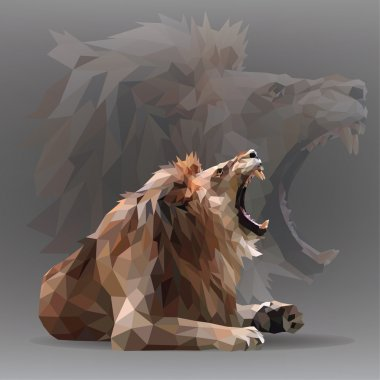 Growling lion in geometrical style.