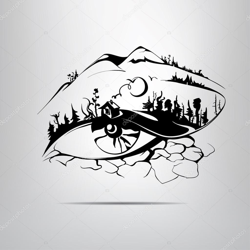 Eye in  form  landscape.