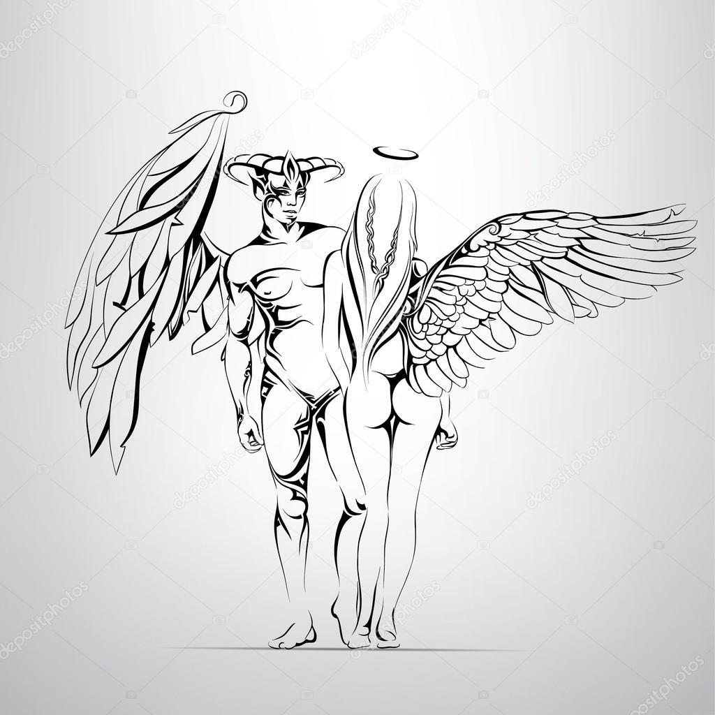angel and demon illustration � stock vector 169 nutriaaa