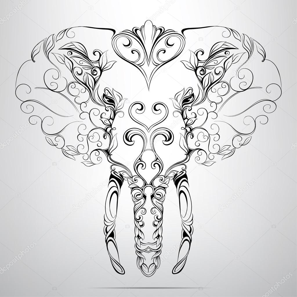 Elephant Line Drawing Tattoo : Tête d éléphant en ornement — image vectorielle nutriaaa
