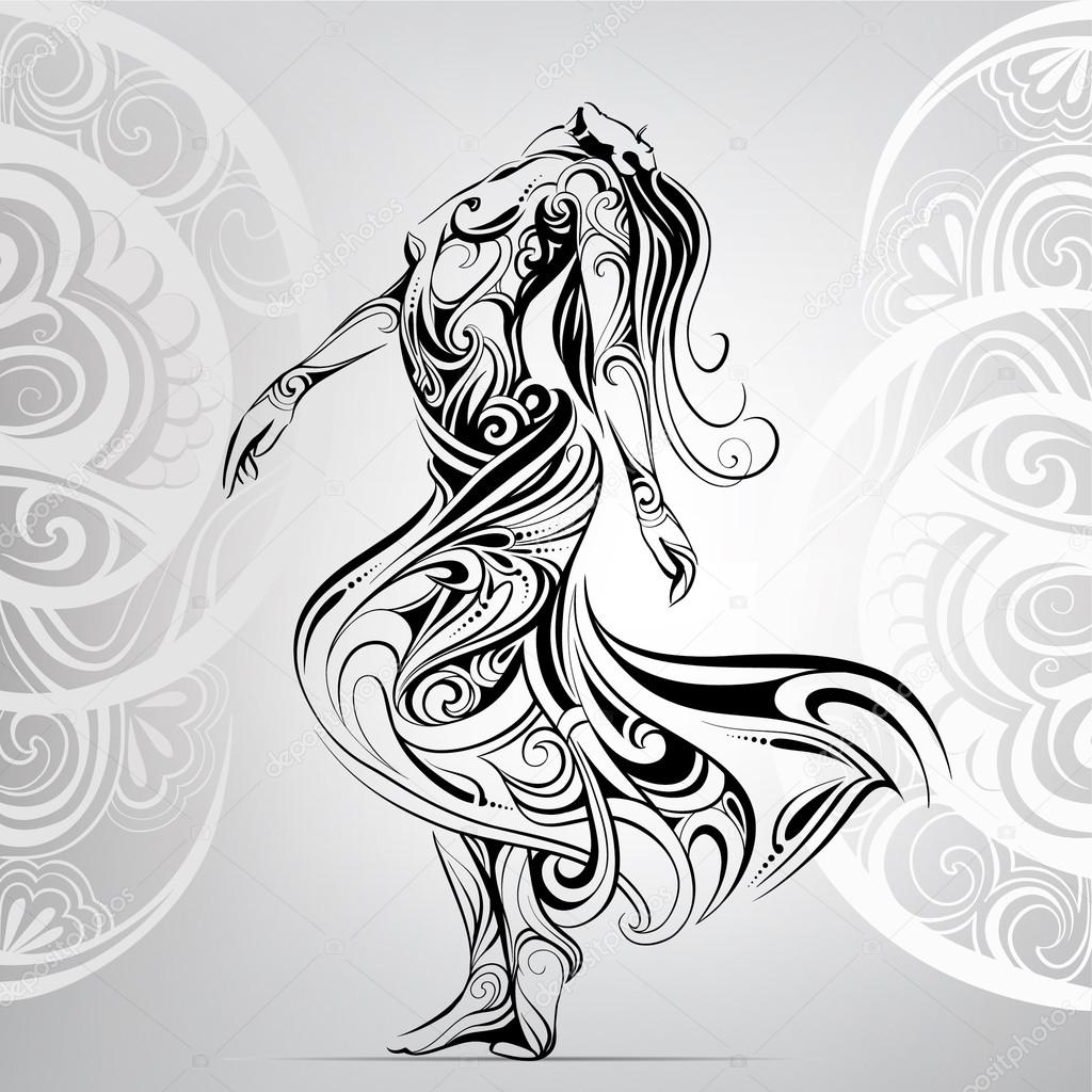 Dancing girl in  ornament
