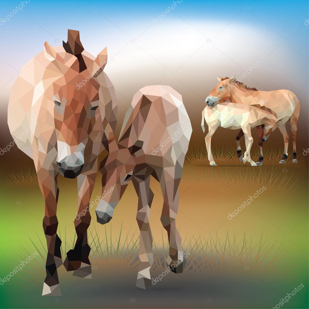 Horses in geometrical style.