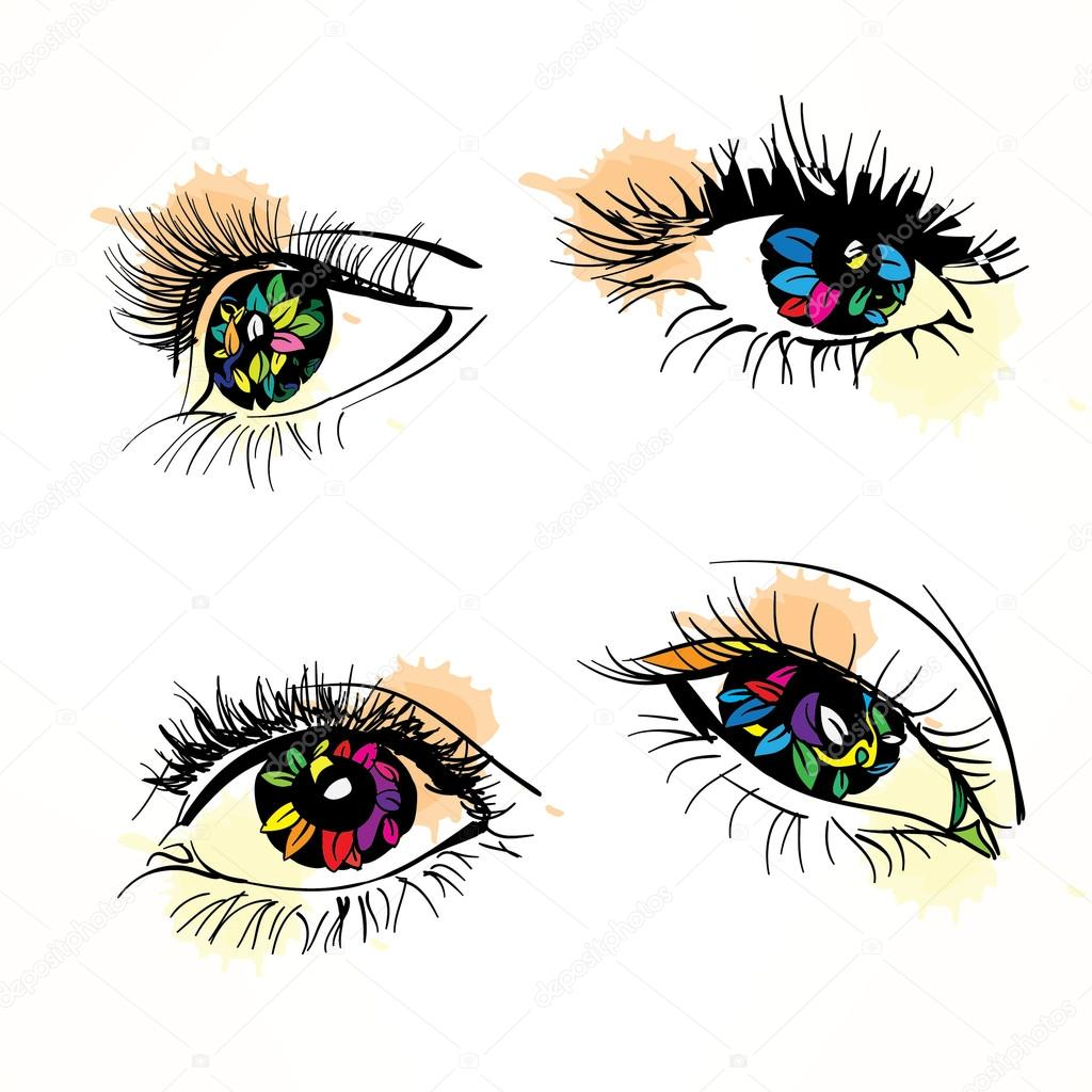 Colorful woman eyes.