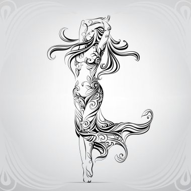 Dancing girl in the ornament. Art vector illustration stock vector