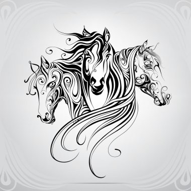 Heads of horse in decorative pattern