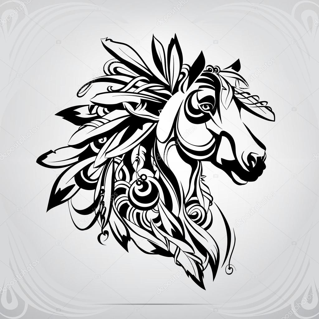 ᐈ Indian Horse Tattoo Stock Vectors Royalty Free Indian Horse Illustrations Download On Depositphotos