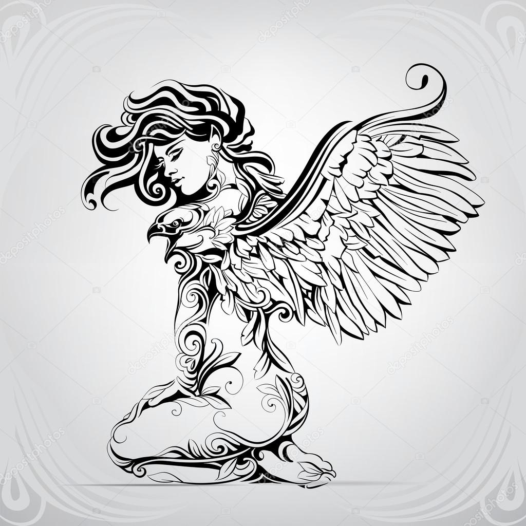 Girl with wings of eagle
