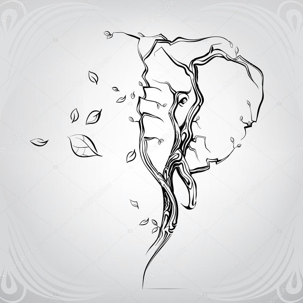 silhouette of head of elephant u2014 stock vector nutriaaa 95829802