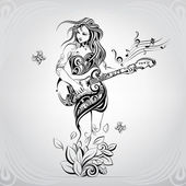 Photo Girl with guitar in ornament
