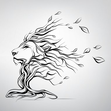 Head of lion in form of tree