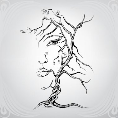 Woman's face in form of tree