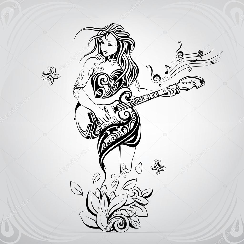Girl with guitar in ornament stock vector