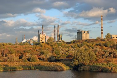 The plants on the banks of the picturesque river surrounded by autumn forest. Factory pipe smoke and pollute the environment