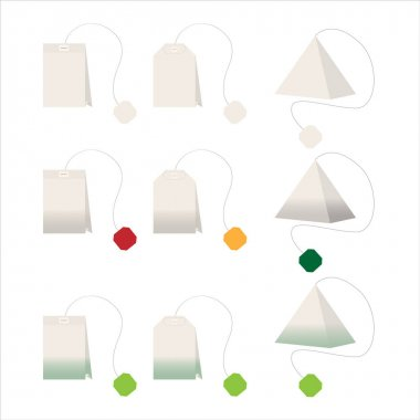 Set of black and green tea bags of different shapes on a white isolated background. Vector illustration. Flat design. Icon, sign, logo. For many of your design purposes. icon