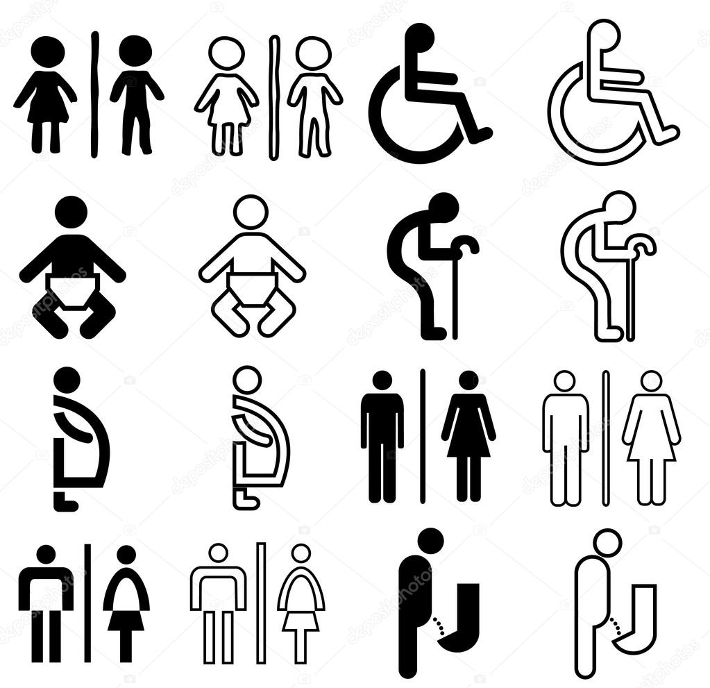 Modern Style Of Toilet Sign With Baby Men Women Pregnant Aged Handicapped In Art Design And Access Use Warning Vector Set