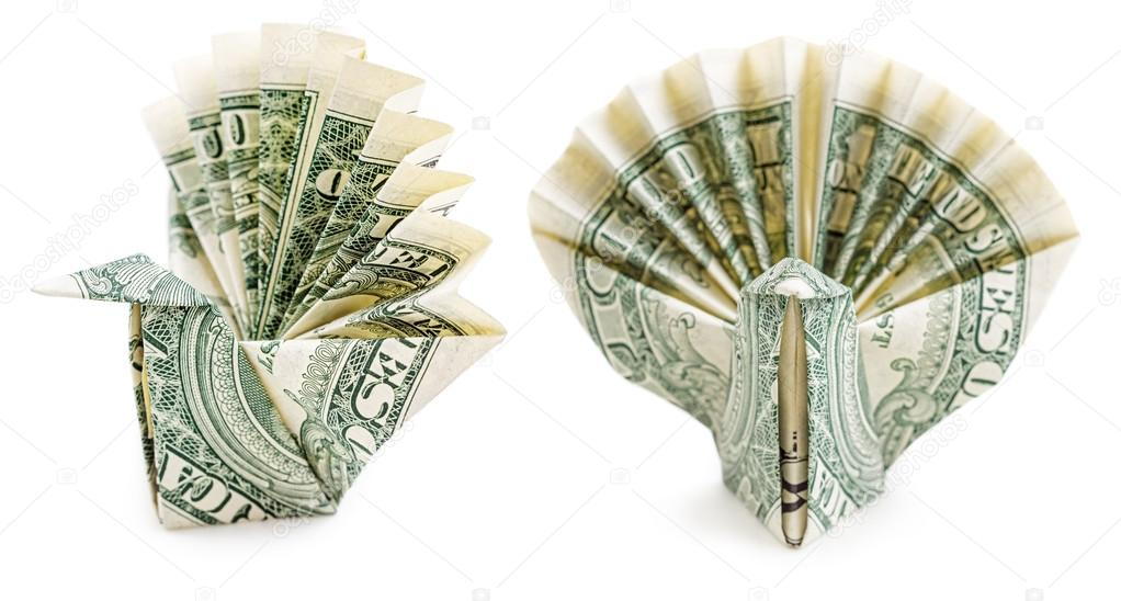 Dollar Origami Peacock Isolated On White Background Moneygami Photo By Martina L