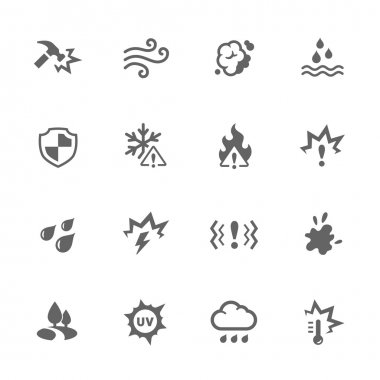 Simple Set of Influence Related Vector Icons. Contains such icons as water resistance, heat, dust and more. clip art vector