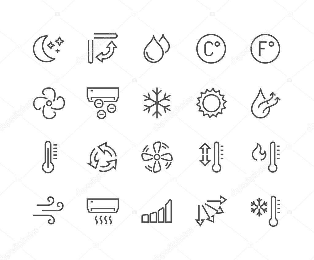 Line Air Conditioning Icons — Stockvektor © davooda #117816990
