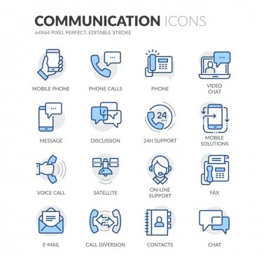 Simple Set of Communication Related Color Vector Line Icons. Contains such Icons as Phone Calls, Video Chat, On-line Support and more. Editable Stroke. 64x64 Pixel Perfect. stock vector