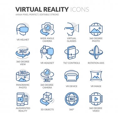 Simple Set of Virtual Reality Related Color Vector Line Icons. Contains such Icons as VR Helmet, 360 Degree Camera, Panoramic Photo and more. Editable Stroke. 64x64 Pixel Perfect. stock vector
