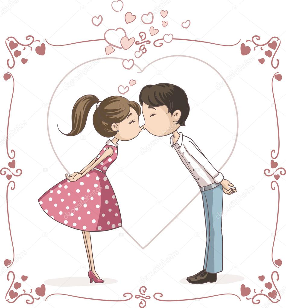 Gráfico Vectorial Pareja Enamorada Caricatura Imagen Vectorial Pareja Enamorada Caricatura Depositphotos