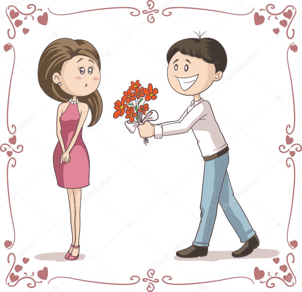 Hombre Trae Flores A Dibujos Animados De Vector De Mujer
