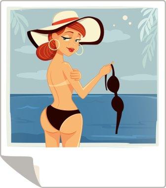 Topless Girl on a Beach Vector Cartoon
