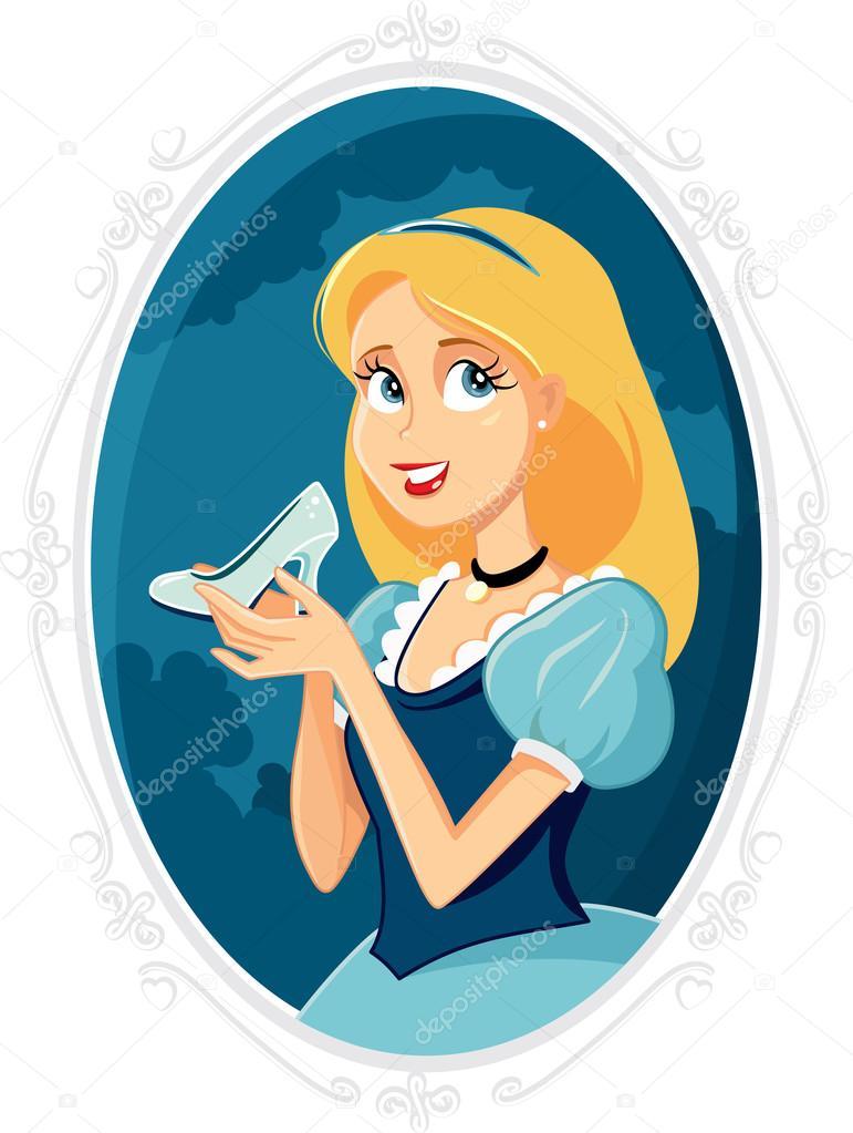 Princesa Cenicienta con dibujos animados de Vector Magic zapato ...