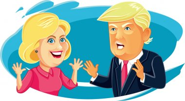 July 30, 2016 Caricature character illustration of Hillary Clinton and Donald Trump