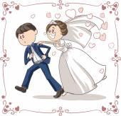 běžící ženicha pronásledována nevěsta legrační vektor kreslené