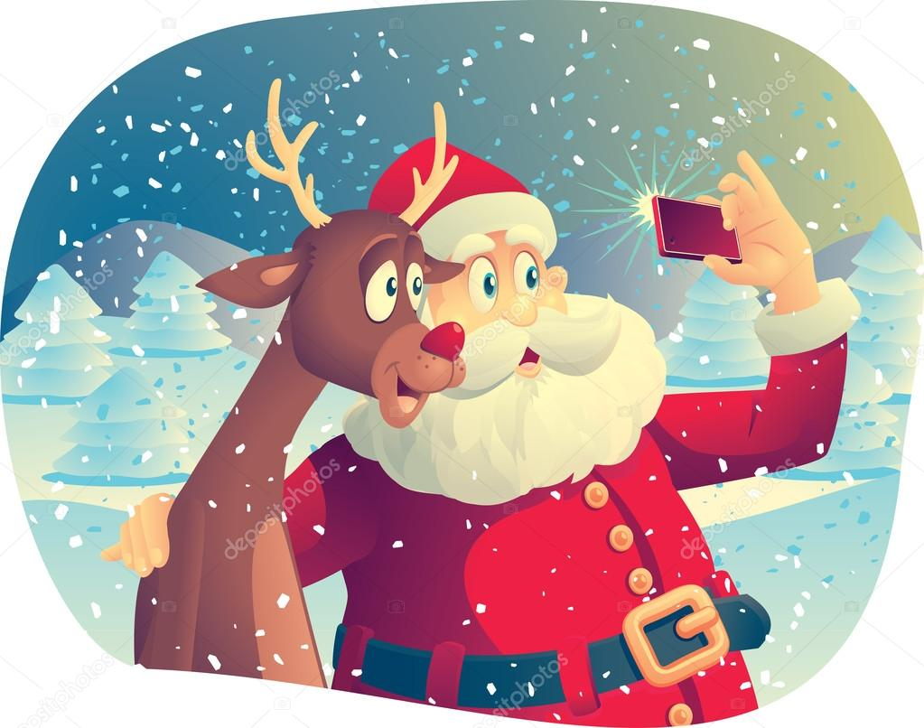 Santa Claus and Rudolph Taking a Photo Together — Stock ... - photo#26
