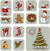Fényképek Vintage karácsonyi grafikai elemeket kézzel rajzolt vektoros