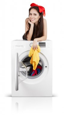 Girl on a Washing Machine Filled with Laundry