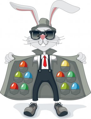 Funny Rabbit with Contraband Easter Eggs Vector Cartoon