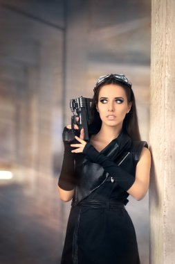 Steampunk Female Warrior with Gun in Post Apocalyptic Ruins
