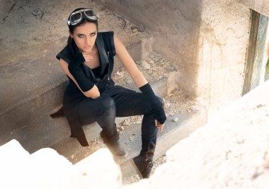 Steampunk Female Warrior in Post Apocalyptic Scenario