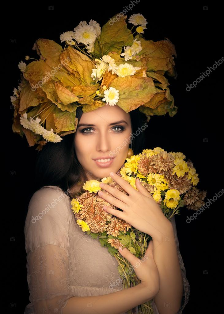 Autumn Woman Beauty Portrait with  Flower Bouquet