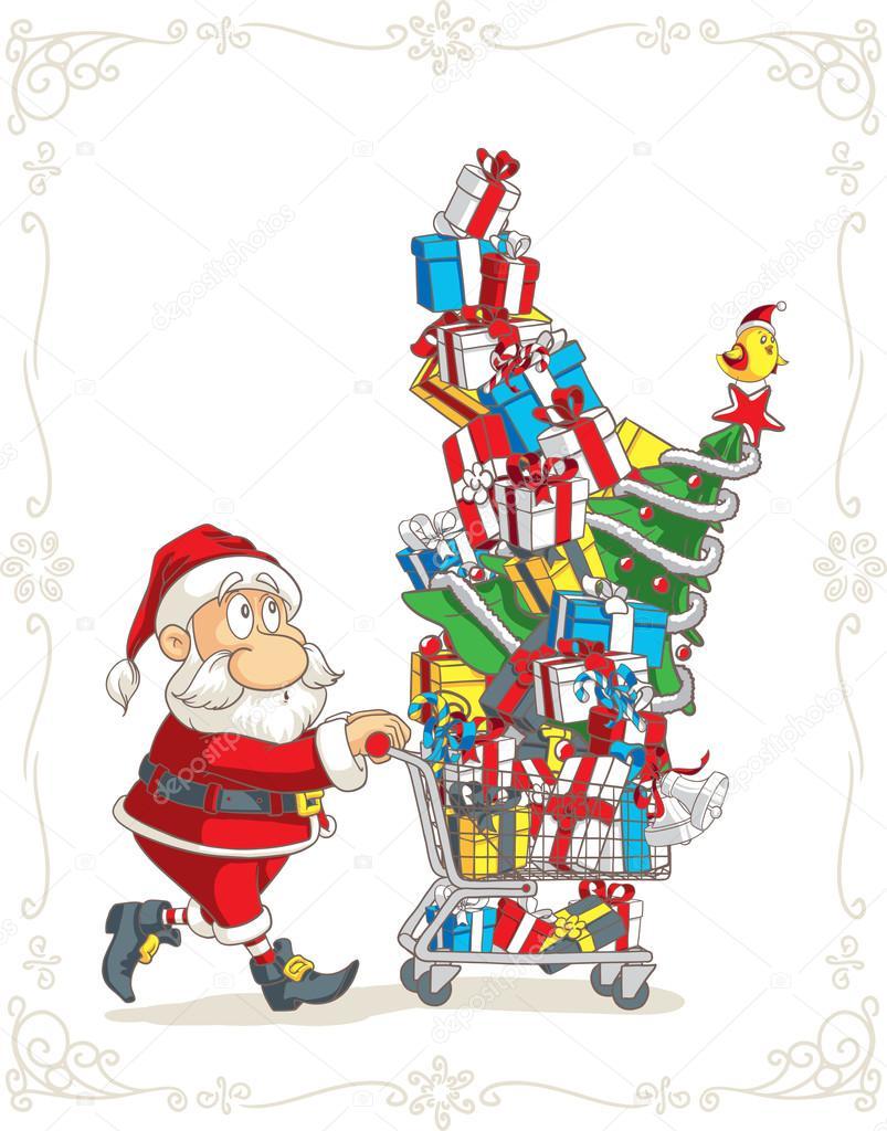 santa claus with shopping cart vector cartoon — stock vector