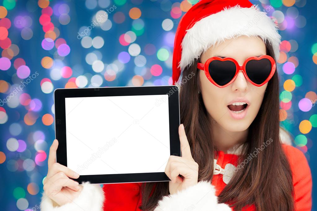 Surprised Christmas Girl with Heart Sunglasses and Tablet