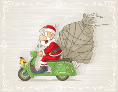Illustration of Santa Claus riding scooter delivering Christmas presents clip art vector