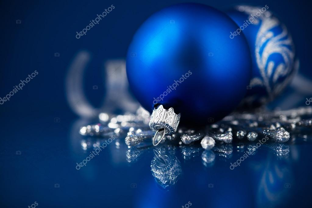 Silver And Blue Christmas Ornaments On Dark Background Merry Card Stock