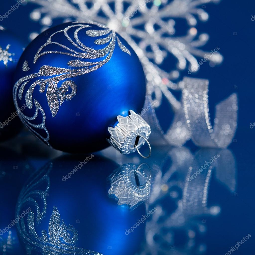 Blue And Silver Christmas Ornaments On Dark Xmas Background With Space For Text Photo By Elenadesigner