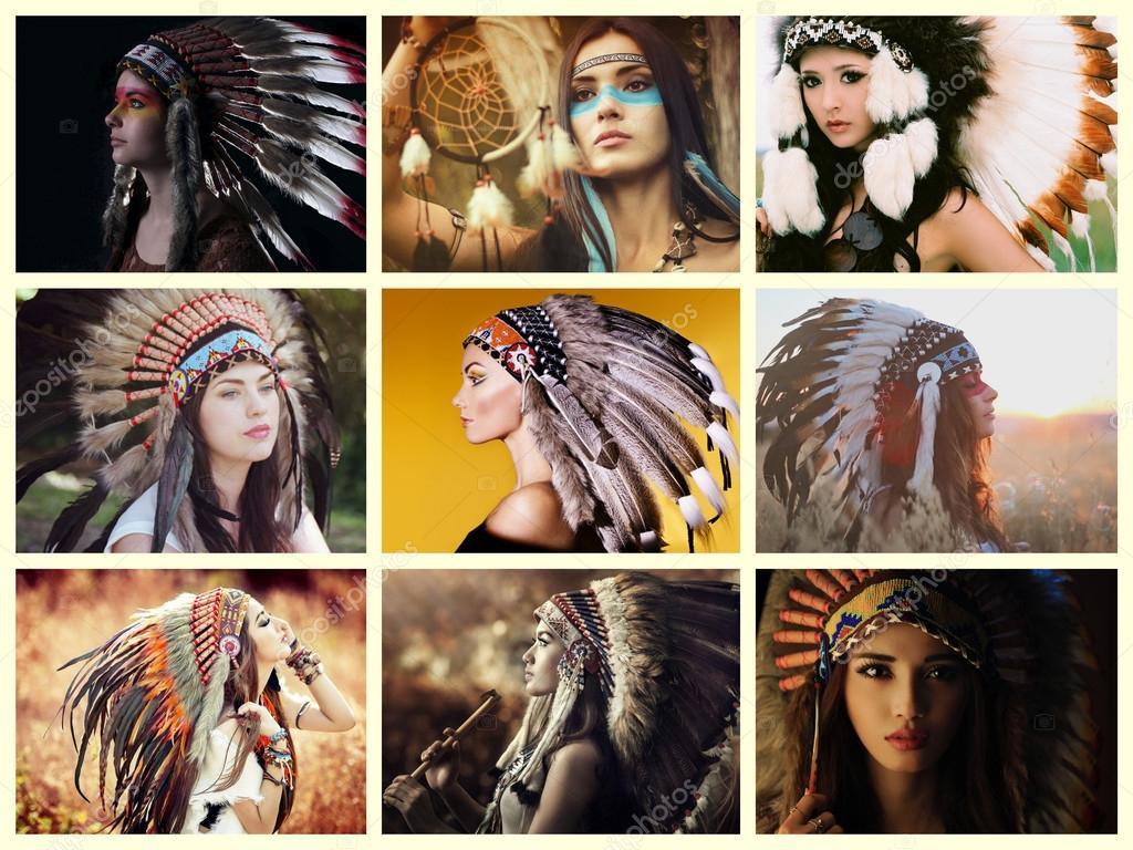 Indios nativos de collage — Fotos de Stock © marjahoebe #60903351