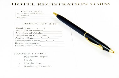 Hotel registration form.